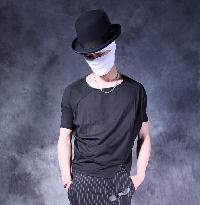 T-shirt homme all-match hommes personnalité homme manches chauve-souris lâche col rond manches courtes t-shirt hommes camisa masculina noir blanc