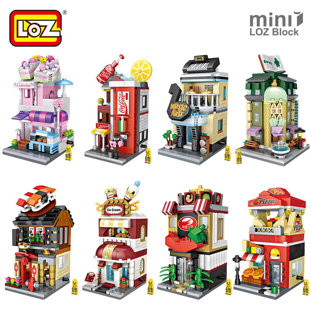 LOZ Mini Blocks Bricks City Series Mini Street View Model Store Shop Kid Assembly Architecture Building Blocks Toy for Children loz lincoln memorial mini block world famous architecture series building blocks classic toys model gift museum model mr froger
