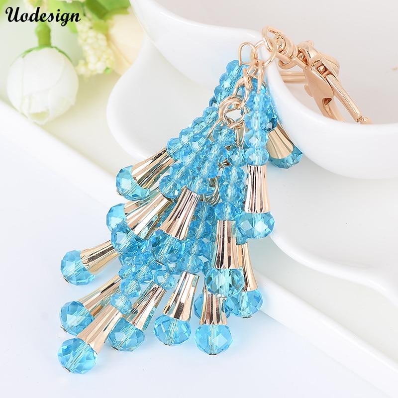 2017 Gold chains Tassel Key Ring Crystal Tassel Key Chain Tassel Keychains Carabiner Women Bag Charming Pendant