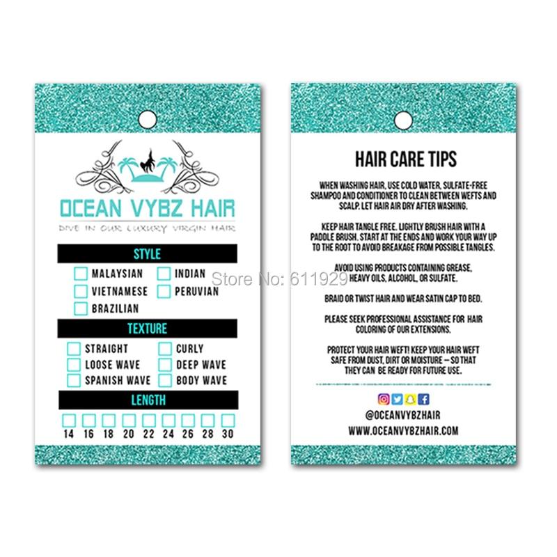 Customized Women Hair Extention paper hang tags hair labels hair extension swing tag hair tag ribbon