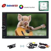 Wireless Rear Camera with Android6.0 Double 2 din Multi Touch Screen 1080P Video GPS Navigation Bluetooth with External Micro