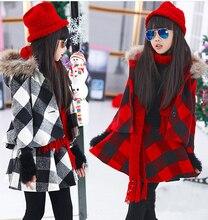 2016 новых европейских и американских детей девушки зима плед два — костюм большой мужедеве ребенок шерстяной пиджак