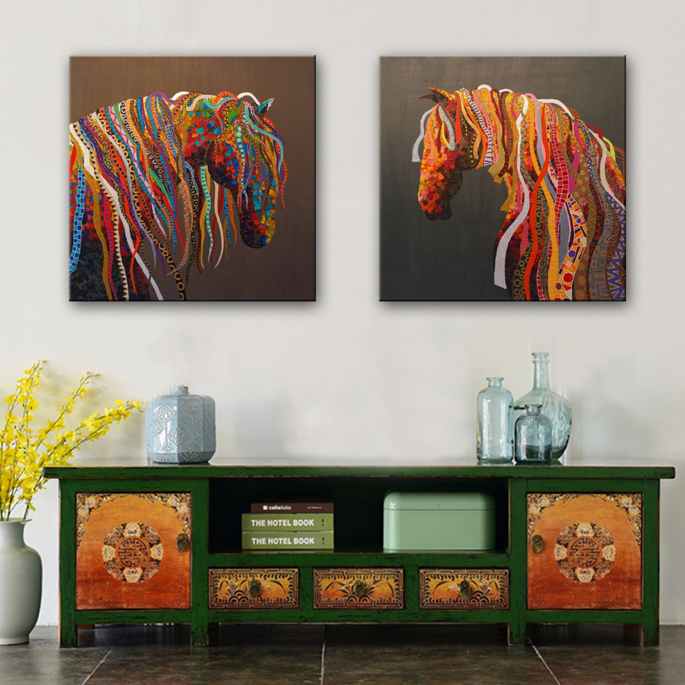 online get cheap hand painted horse aliexpress com alibaba group free shipping hand painted oil painting a horse with a color stripe decoration painting set of 2 home decor modern wall prints