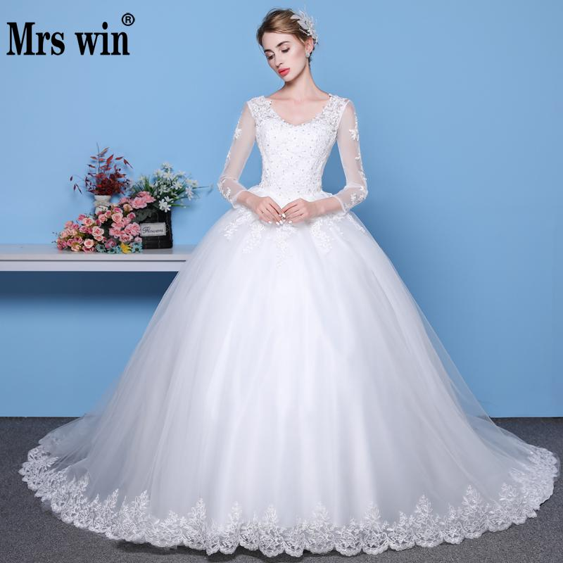Mrs Win Long Sleeves Lace Wedding Dresses 2018 V Neck Vestido De Noiva Train Custom-made Plus Size Wedding Gowns