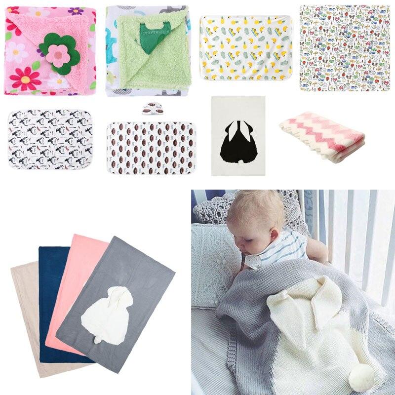 Knitted Kids Blanket Handmade Woolen Blended Soft Baby Blanket Newborn Cartoon Rabbit Baby Swaddle Sofa Blanket 120*75cm