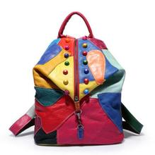 Brand New Retro Echt Lederen Rugzak Schapenvacht Dame Rugzak Designer Reizen Kleurrijke Patchwork Luxe Shopper Bag Mochila