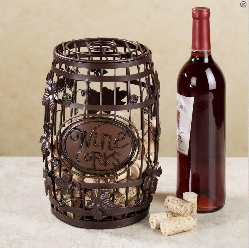 Le creative bouchons de vin rack vin seau style et vin gobelet en verre style bouchons rack en métal décoration