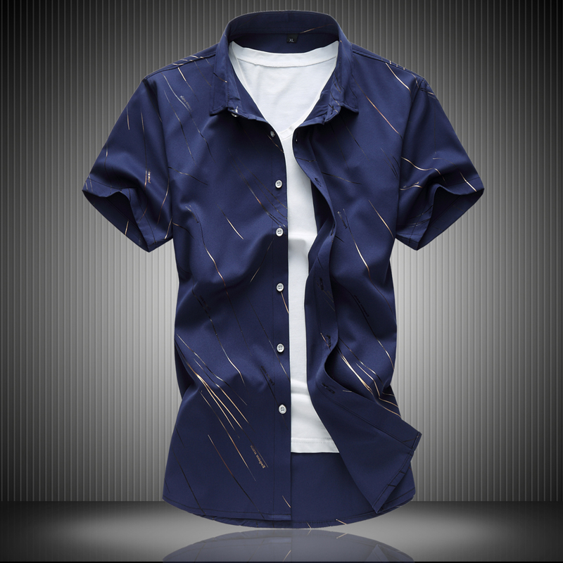 2017 Summer Mens Short-sleeved Shirt Plus Fat Plus Big Business Casual Mens Shirt Fat Casual Shirt 7XL