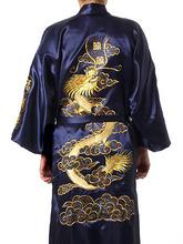 Plus rozmiar XXXL chiński mężczyźni haft Dragon szaty tradycyjny męski Bielizna nocna granatowy kimono kąpiel suknia z paskiem tanie tanio Mężczyzn Robes Octan poliester Rayon JA007 W YZYOUTHZING Serek Trzy czwarte rękaw Regularne Satyna Zwierząt Navy Blue