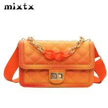 mixtx 2019 Spring New Women Elegant Lingge Handbag Fashion Chain Handle Crossbody Female Tote Candy Color Messenger Shoulder Bag