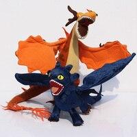 бесплатная доставка 2x новый как приручить дракона беззубый ночь ярости firedragon кошмар плюшевые игрушки чучела плюшевого мишку куклы