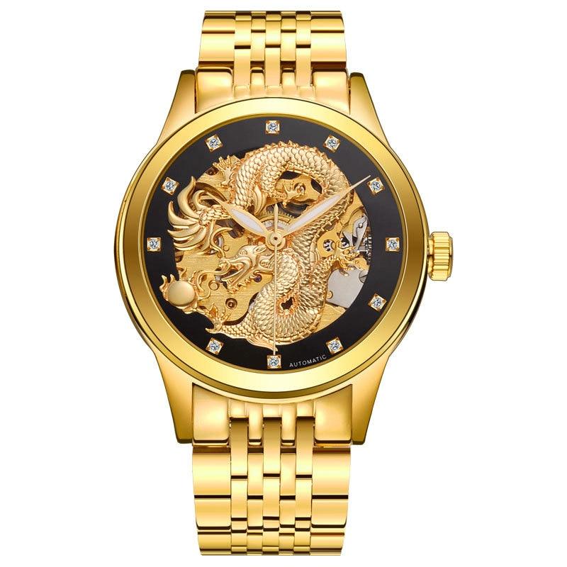 Men Automatic Mechanical Watch Skeleton Gold Dragon Wrist WatchesMen Automatic Mechanical Watch Skeleton Gold Dragon Wrist Watches