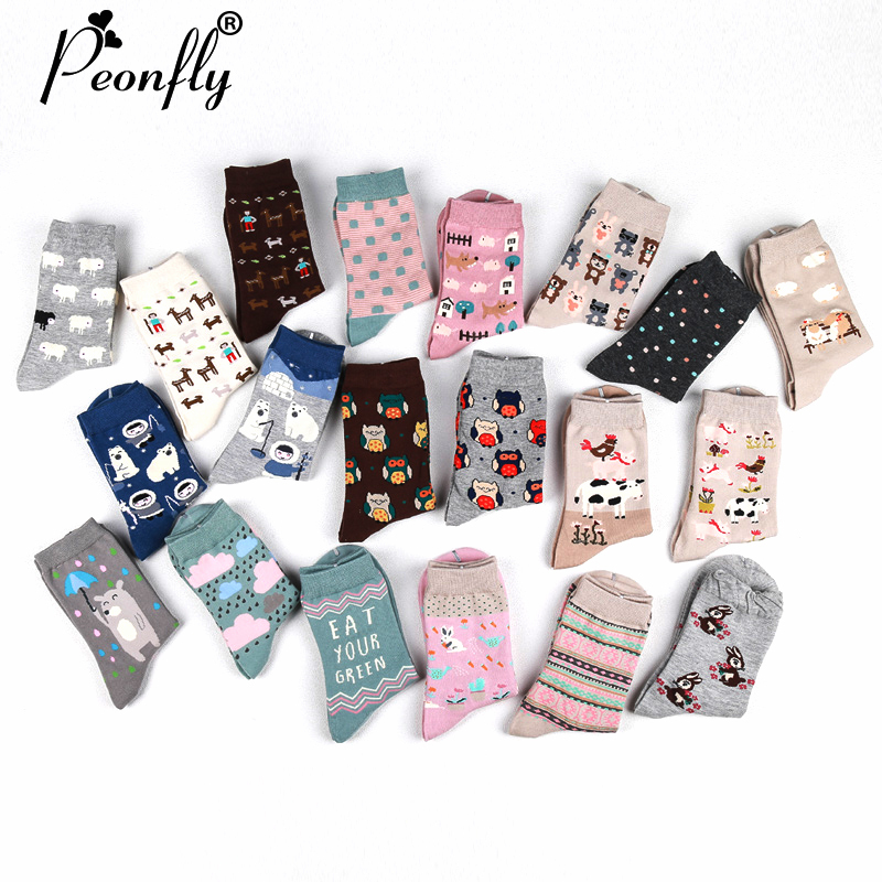 PEONFLY New Cute Women's Sock Long Happy Socks 10 Kinds Of Animals (maple Leaf, Horse, Owl, Rabbit, Cow, Bear) 2Pair