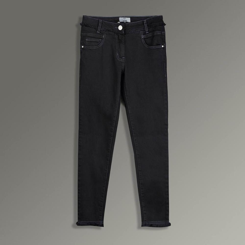 2019 New Women Casual Jeans Modern Stylish Nine-cent Slim Dark Grey