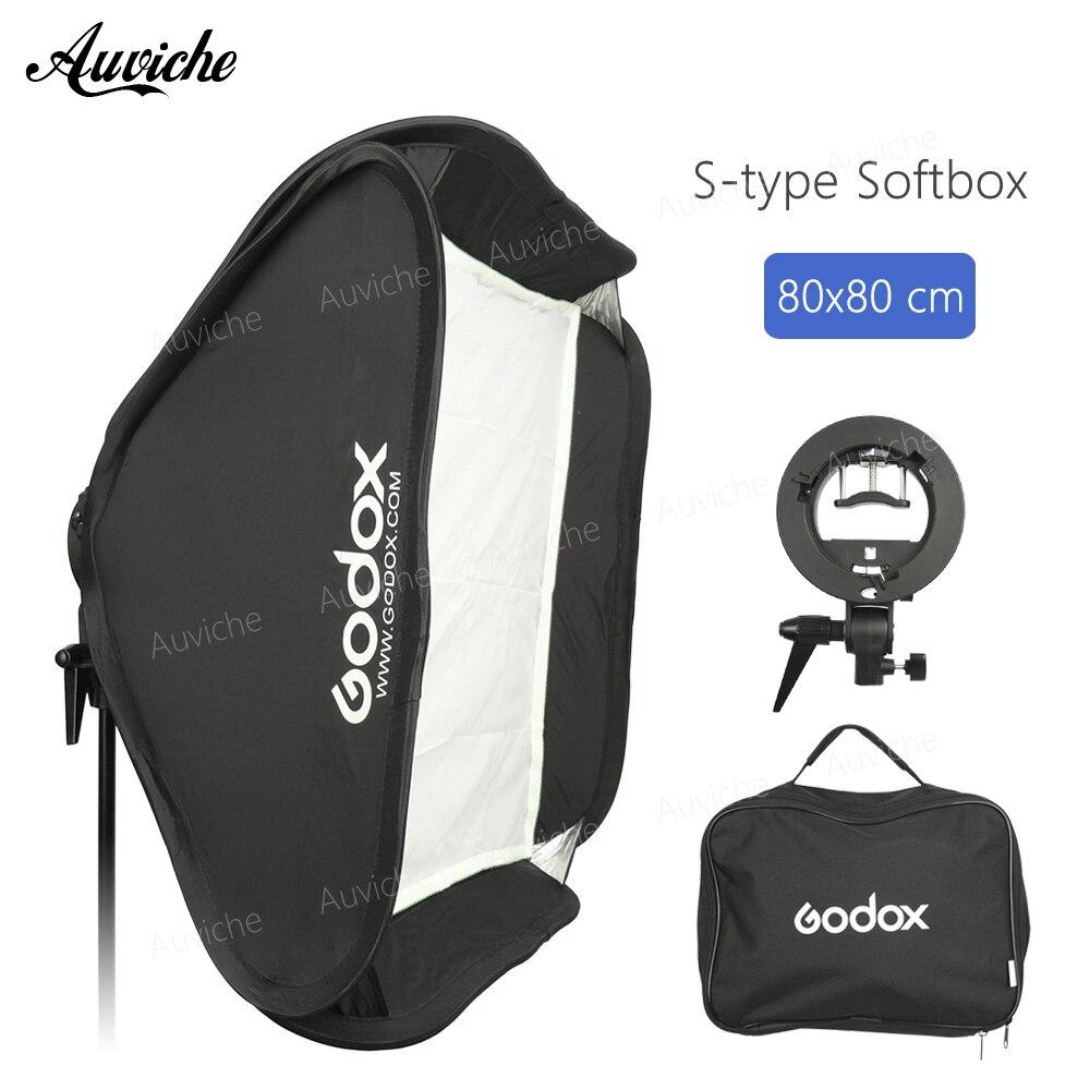 Godox 80*80cm Speedlite Ajustable Softbox Diffuser with S-type Bracket Bowens Holder for Studio Photo Speedlite Flash Light