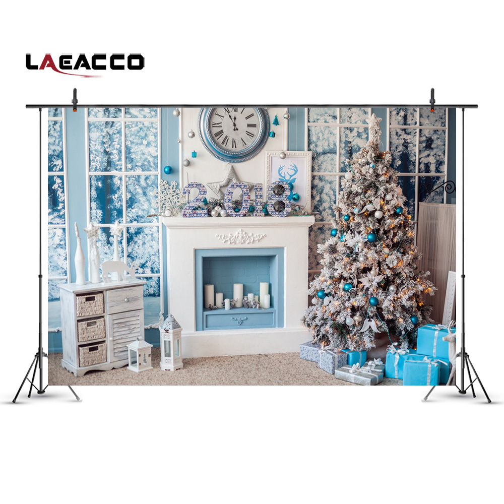 Laeacco Christmas Tree New Year Home Decoration Fireplace Scene Photography Backgrounds Vinyl Backdrops Props For Photo Studio new 5x7ft vinyl photography backgrounds vintage wall backdrops for photo studio christmas home decoration noel f 775