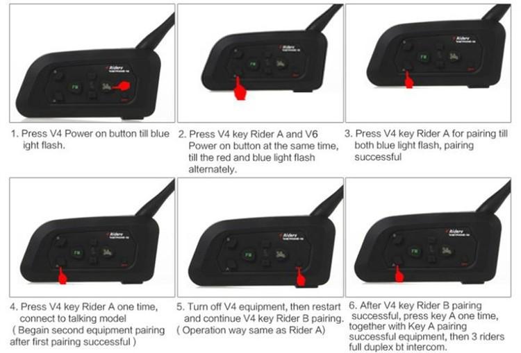 1PCS V4+2 Pcs V6 Motorcycle Helmet Bluetooth Intercom System BT Stereo Interphone Handsfree Headset for 3 Riders Group Chat (15)