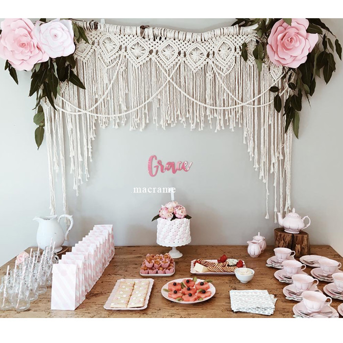 Macrame Flower shop party baby banquet dessert table wedding background decoration Bohemian hand-woven tapestry wall hang