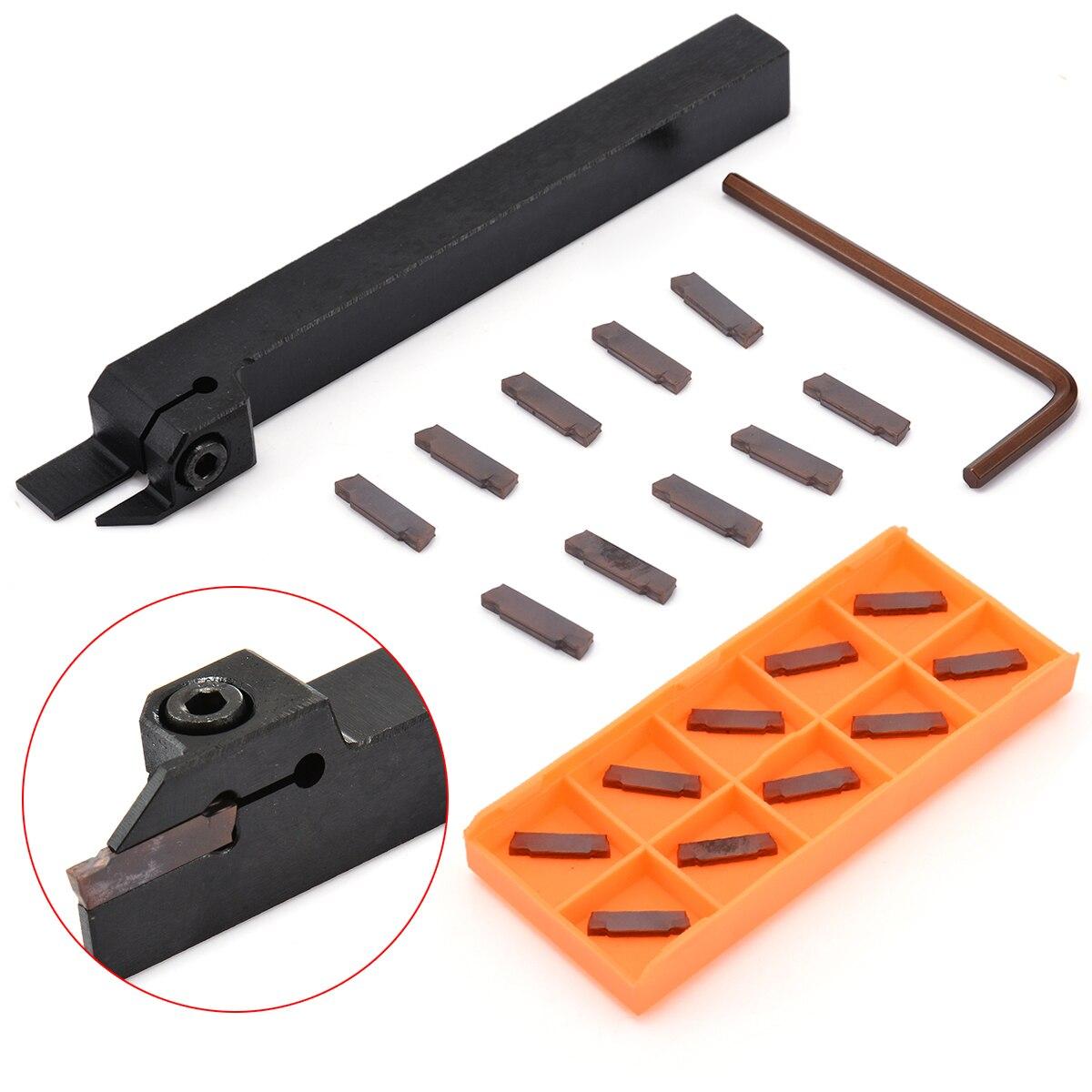 Pratico CNC Tornio Utensile da Tornio MGEHR1212-2 Strumento di Cut-Off Supporto di 12*12*100mm Boring Bar + 10 pz MGMN200-G Inserti In Metallo Duro Lama