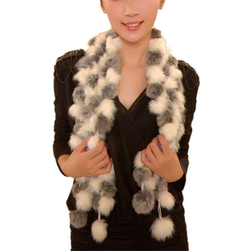 Sheila New Women Winter Imitate Faux Rabbit Fur Scarf Lady Casual Fur Scarves Fur Ball Velvet Long Style Femme Bufanda Oct12