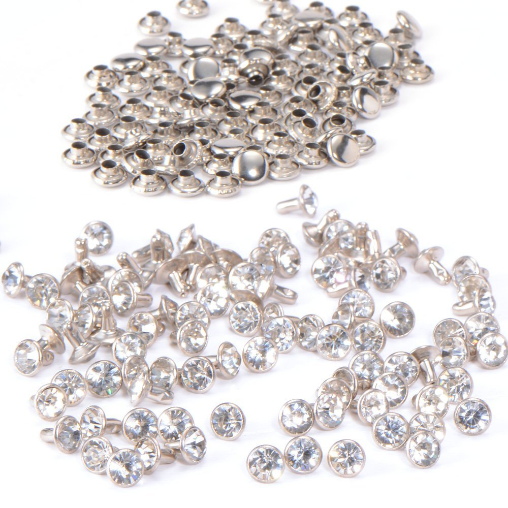 HHTL-100pcs DIY nail with diament rhinestone rivet brilliant 7mm silver