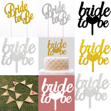 Bride to be Cake Topper Cupcakes flag Team Bridal Shower Gold Silver Glitter Paper Bachelorette Hawaiian wedding party