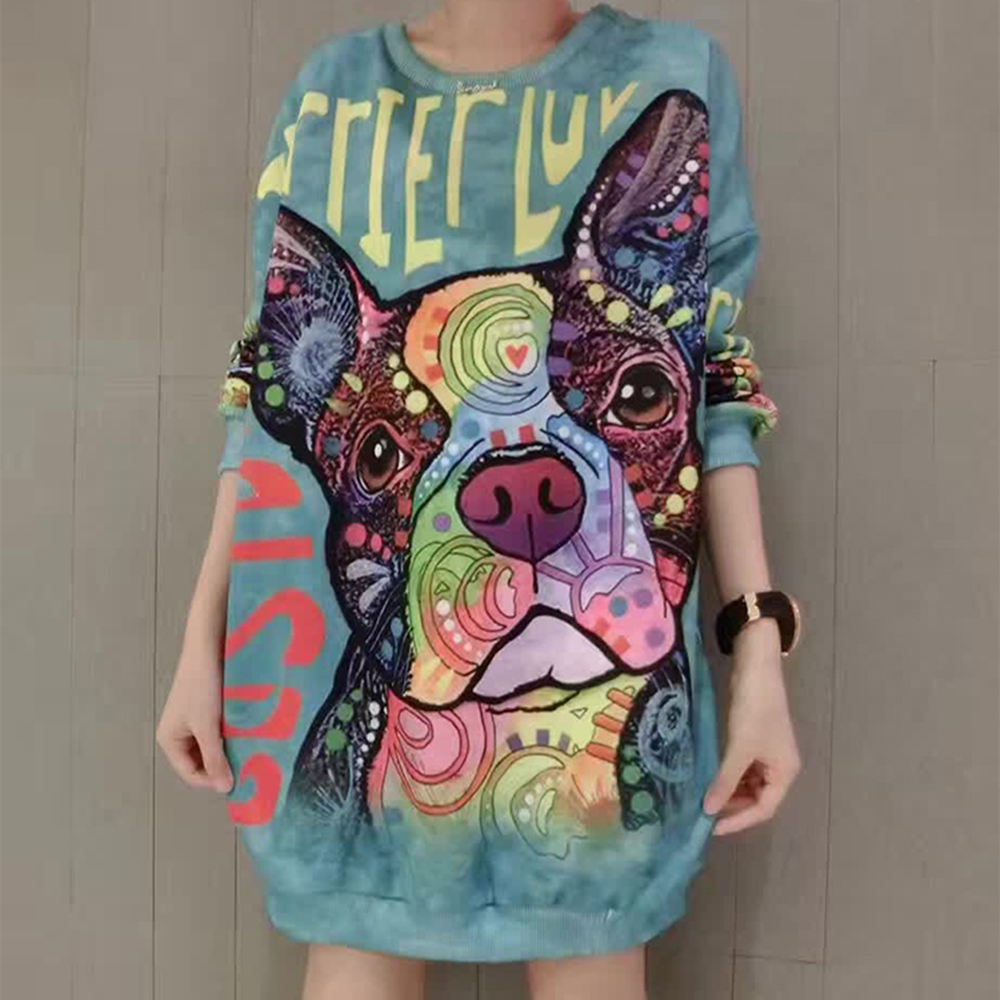 2019 Autumn Casual Hoodie Sweatshirts Women Cute Puppy Letters Dog Print Loose Pullover O-neck Long Sleeve Chic Girls Hoodies