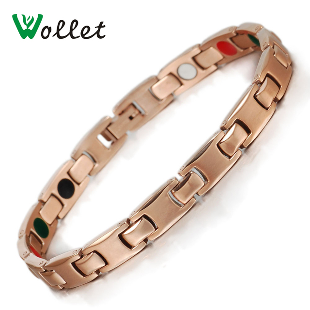 wollet Jewelry Women's Rose Gold Healthy Magnetic Stainless Steel Bracelet with Ion and Germanium B3q1YAMRv