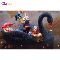 GLymg Diy Diamond Embroidery Painting Black Swan Yacht Diamond Embroidery Cross Stitch Full Square Cartoon Characters
