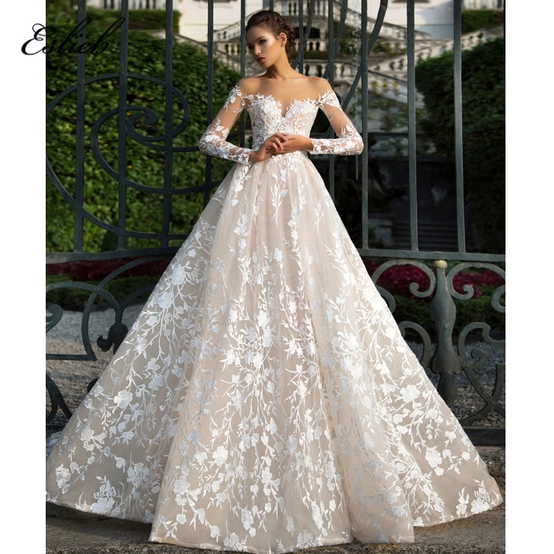 Special Lace Appliques Wedding Dress A Line Long Sleeves Illusion Court Tail Backless Bridal Gown Semi-sweet Heart Gown HA045