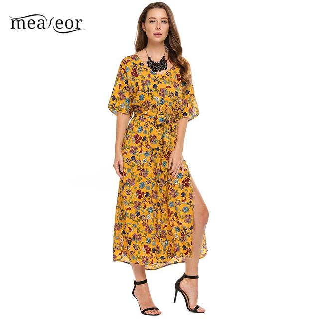 853d4f65d6 Meaneor Casual Women Autumn Dress Maxi Bohemian Style V-Neck Half Sleeve Floral  Print Women Dress Split Beach Party Sexy Dress