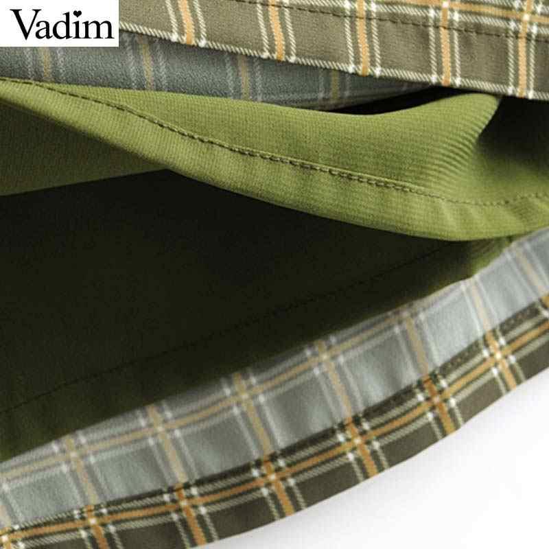 Vadim женское клетчатое мини-платье с квадратным вырезом без рукавов на тонких бретелях повседневное женское ТРАПЕЦИЕВИДНОЕ шикарное платье vestidos QC145
