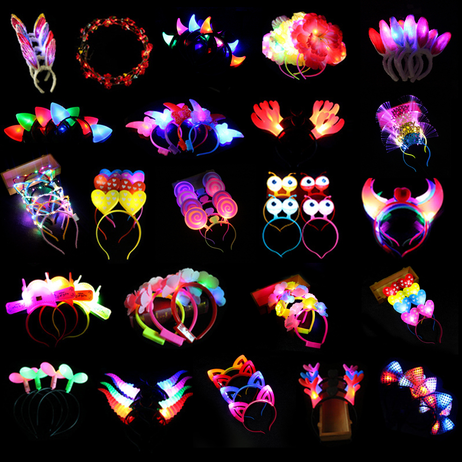 Wedding Party Crown Flower Headband LED Light Up Hair Wreath Hairband Garlands Women's Christmas Glowing Wreath