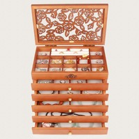 Female Large Jewelry Box 6 Drawers Wooden Necklace Organizer Earring Holder Organizer Case Gifts Wood Jewelry Box