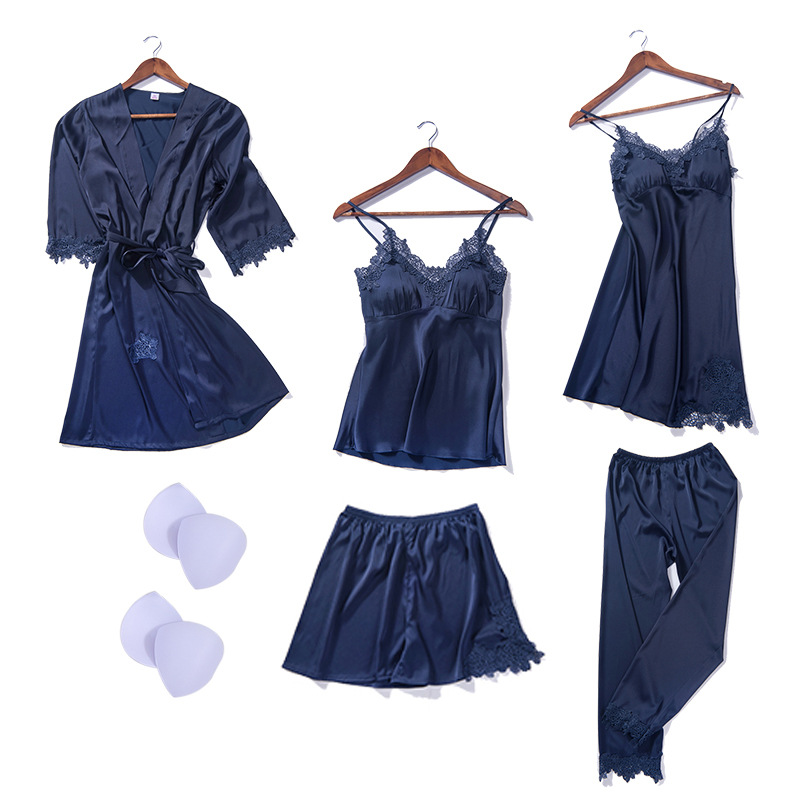 New 2019 Winter Women Silk Robe Tops Shorts Pajamas Sexy Long Sleeve Robes Set Camisole Lace Nightwear Home Wear 5 PCS