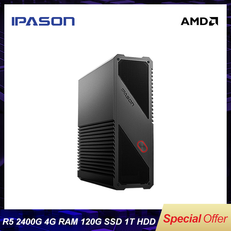 IPASON Gaming Mini PC AMD Ryzen5 2400G 4GB DDR4 Upgrade 8G RAM 1T HDD 120G SSD Mini PC HDMI WiFi Mini Desktop Computers PC