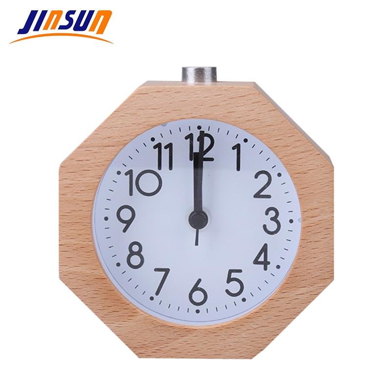 JINSUN Alarm Clock Polygon No Ticking Snooze Backlight Digital Clock Table Clocks Wooden Table Clock