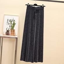 JUJULAND Ladies wide-leg trousers Black slacks with loose, elastic waistlines and high waists casual pants plus size 8130
