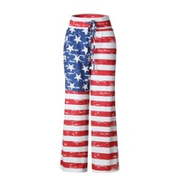 2017 Summer Cool Trousers For Women Independence Day Flag Printing Loose Casual Long Pants Fashion Popular Harem Pants G