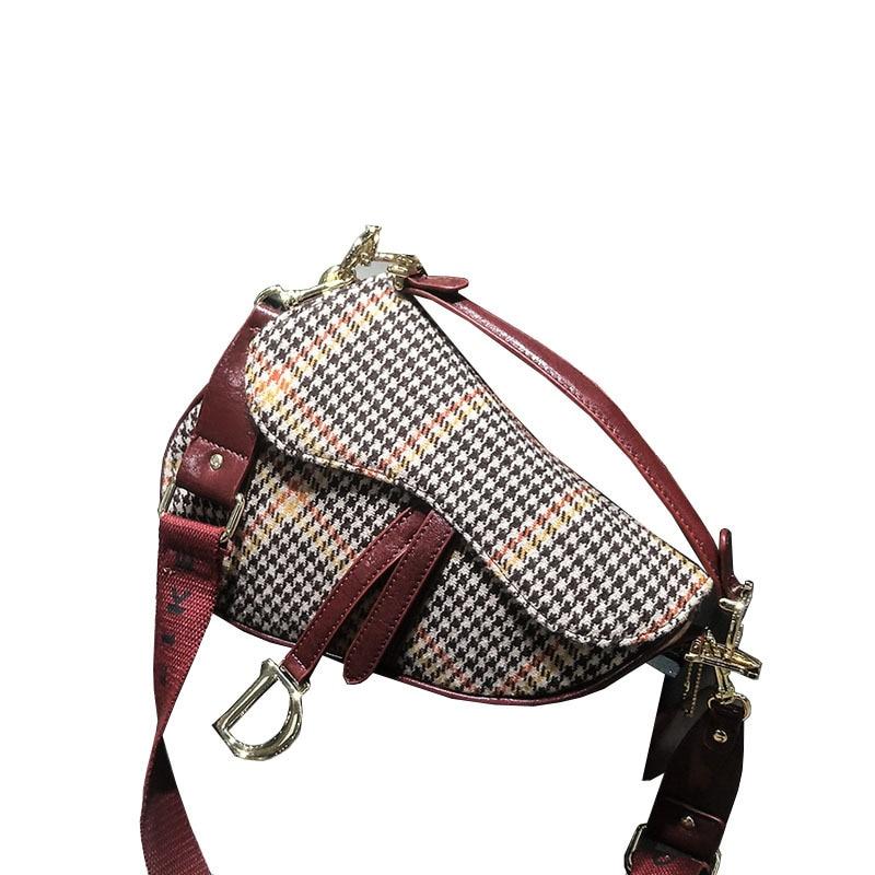 Fashion Designer Women Shoulder Bag Personality Saddle Bag Houndstooth Winter Style Crossbody Travel Bag Large Capacity Handbag chain houndstooth print crossbody bag