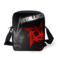 FORUDESIGNS Men Messenger Bags Metallica Skull Print Heavy Metal Rock Hip Hop Casual Crossbody Bags For
