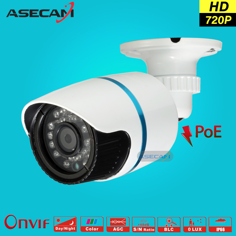 HD 720P IP Camera 48V POE White Bullet Metal Onvif WebCam CCTV 24LEDS Infrared Night Vision Security Network Surveillance h 265 onvif network ip camera 2mp 3mp 4mp 48 ir leds night vision waterproof metal housing dome cctv camera support 48v poe