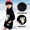 teenage girls winter plus velvet basic shirt sweatshirt medium-large medium-long kids cartoon t-shirt thickening top hoodies