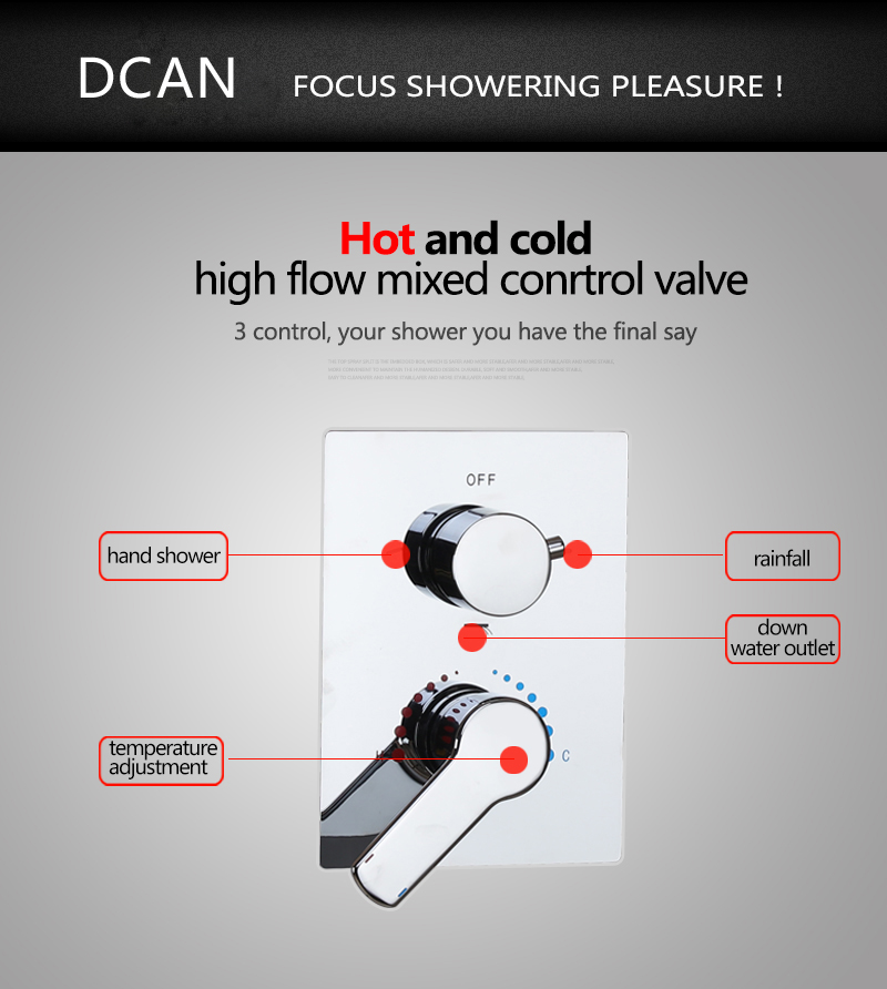 Brass Shower Switch Valve 3Ways Hot Cold Bath Mixer Faucet Accessories Wall Mounted Chrome Shower Set Water Control Valve (10)