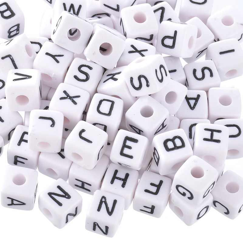 100PCs Mixed Cubic Acrylic Letter Beads For Jewelry Making Alphabet Beads DIY Jewelry Accessories Fit Necklace Bracelet 10x10mm