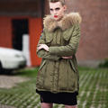 Winter Jacket Women 2016 Army Green Coat Real Raccoon Fur Collar Hooded Warm Down Jacket Parka Womens Coats And Jackets DHL Free