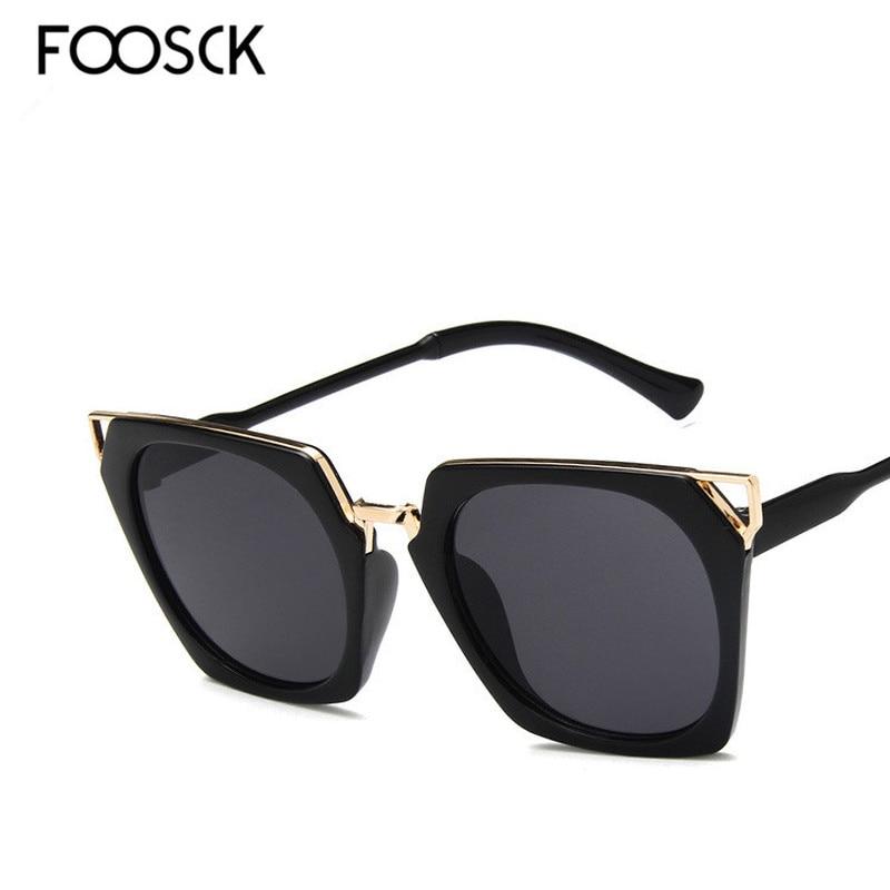 FOOSCK New Hot Vintage Oversized Square Sunglasses Women Luxury Brand Fashion  Sun Glasses Female Oculos De Sol Gafas