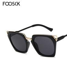 FOOSCK New Hot Vintage Oversized Square Sunglasses Women Luxury Brand Fashion Su