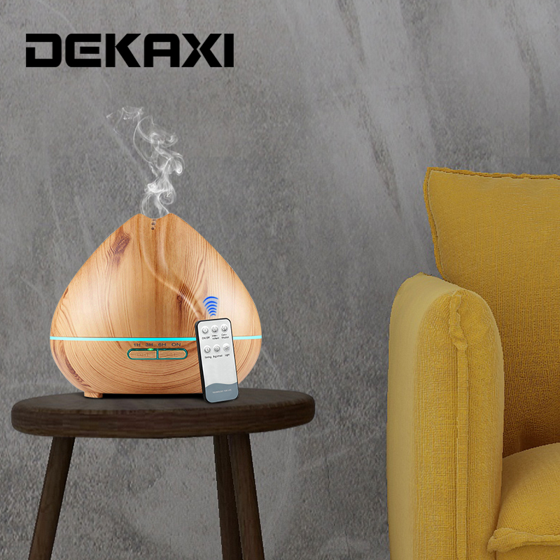 DEKAXI 550ML Essential Oil Diffuser Air Humidifier Aromatherapy Electric Aroma Diffuser Remote Control Ultrasonic Humidifier