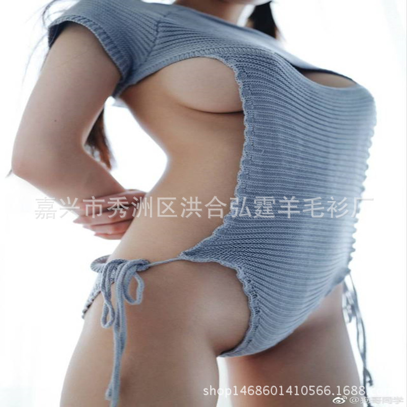 2019 Japanese Autumn Sexy Virgin Killer Sweater Backless One Word Hollow Pullovers Sweater Knitted  Fashionable Swimming Suit